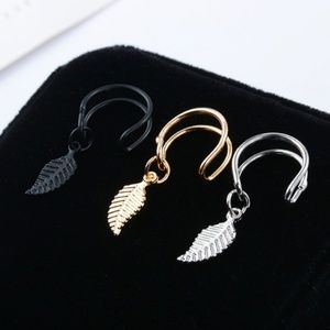 Double Ear Cuff Leaf Feather Pendant Gold Feather